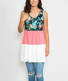 Another great find on #zulily! Coral Floral Color Block Empire-Waist Tunic #zulilyfinds