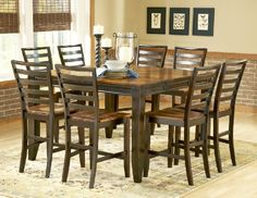 Abaco Gathering Table Set, Square Leg Table, Ladder Back Stools - Belfort Furniture - Pub Table and Stool Set Round Dining Table Sets, Pub Table Sets, Counter Height Dining Table, Dining Room Bar, A Table, Dining Tables, Dining Area, Pub Tables, Counter Chair