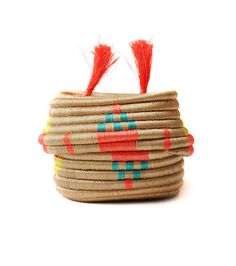 Orange Pom Pom Basket via Establishment Home