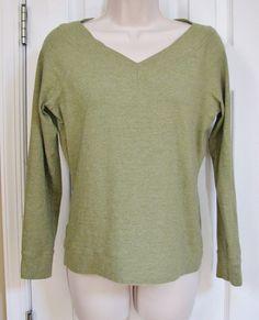 Ann Taylor 3/4 Sleeve Green V Neck Shirt M Stretch Rayon Cotton Women #AnnTaylor #KnitTop #Casual
