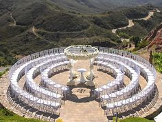 I just LOVE wedding ceremonies in the round. Rentals by A1 Party Rental and Special Events featured on Here Comes The Guide.