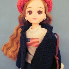 Jacket for Doll pattern by Ikumi amimono Jacket Pattern, Barbie Clothes, Doll Patterns, Fashion Dolls, Crochet Hats, Miniatures, Stitch, Disney Princess, Disney Characters