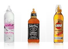 """HAHAHAH! Popbottles - Kid themed booze bottles!    Grey Goose Vodka becomes """"Hello Kitty Vodka"""", Jack Daniels Whiskey is now """"Fisher-Price Whiskey"""" and so on"""