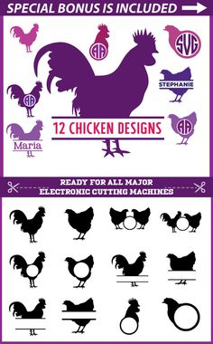Chicken SVG Files for Cricut, Chicken Monogram svg, Cock Svg, Cock Monogram Svg, Rooster Svg, Rooster Monogram svg, Silhoette Vinyl DXF PNG