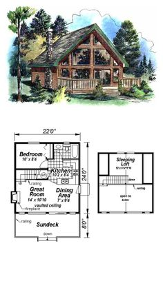 Tiny House Plan 58544 | Total Living Area: 668 sq. ft., 2 bedrooms & 1 bathroom.