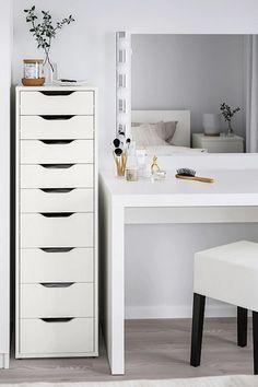 Practical ALEX drawer unit with plenty of storage space - Arbeitszimmer Ikea Wardrobe Hack, Ikea Hack Bedroom, Ikea Bedroom Storage, Bedroom Hacks, Room Ideas Bedroom, Makeup Storage Wardrobe, Ikea Bedroom White, Ikea Bedroom Design, Bedroom Drawers