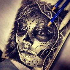 ☆ Sugar Skull drawing :: Artist Randy Engelhard ☆
