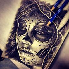 Sexy Sugar Skull Girl Tattoo | Sugar Skull Drawing by Randy Engelhard · Skullspiration.com - skull ...