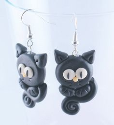 Black kitty CATS polymer clay