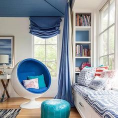 Blue Shiplap Vaulted Ceiling in Kid Room