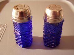 Vintage Blue Glass Salt and Pepper Shakers - $6.99 - SOLD