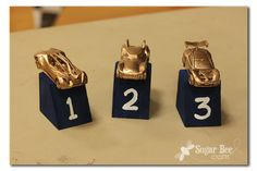 Trophies-block of painted wood with a matchbox car spray painted gold