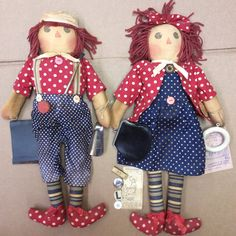 THE TATTERED RABBIT FARM RAGGEDY ANN & ANDY DOLL LOT ARTIST TONI DUHON