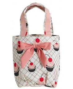 Amazon.com: Jessie Steele Lunch Tote Bag with Bow 811-JS-140K Color: Cherry Cupcakes: Clothing