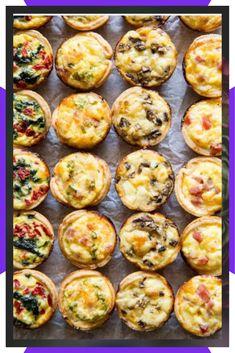 Assorted Mini Quiche - Social Size - 24 pieces - Christmas Brunch - Appetizers for party Brunch Recipes, Gourmet Recipes, Appetizer Recipes, Breakfast Recipes, Healthy Recipes, Appetizer Ideas, Breakfast Ideas, Brunch Foods, Brunch Drinks
