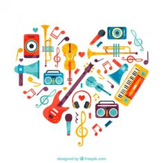 Free vector Heart made of music instruments #12459