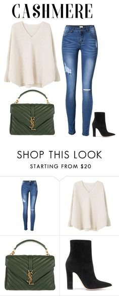 """Untitled #518"" by sophiatsunis on Polyvore featuring MANGO, Yves Saint Laurent and Gianvito Rossi"