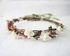 Wedding Floral Crown Peach Flower Headband by HydrangeasLover
