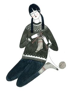 This Could Be A Picture Of My Oldest Daughter Knitting Celphone Cases For Her Friends Illustration By Yelena Bryksenkova