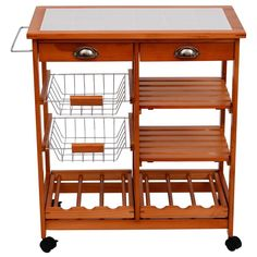 #Kitchen #Storage #Trolley 2 #Drawers #Shelves #Cart #Wine #Rack #Baskets #Chopping #Board