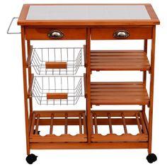 #Kitchen #Storage #Trolley 2 #Drawers #Shelves #Cart #Wine #Rack #Baskets #Chopping #Board