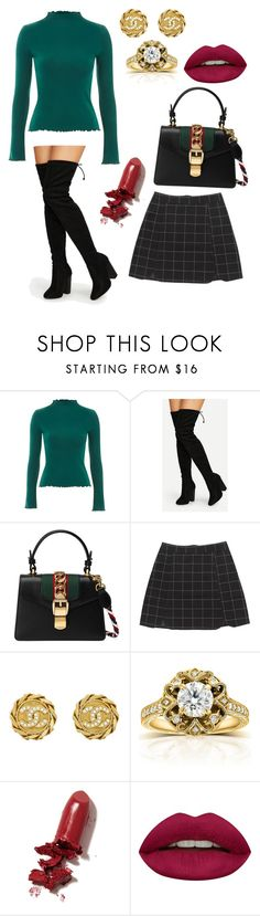 """""""Christmas carols"""" by jessicacrain-i on Polyvore featuring Topshop, Gucci, Chanel, Annello, LAQA & Co. and Huda Beauty"""