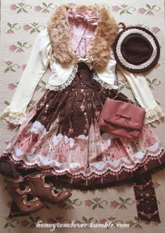 Honey Tea Clover cute winter ILD coordinate in chocolate and dusty rose
