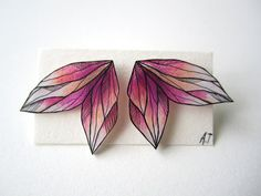 PINK COLORFUL WING stud earrings // unique handdrawn shrink plastic post…