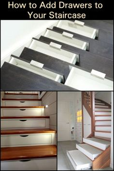 If storage is the problem because of the lack of space, DIY staircase drawers are the solution! Stairs Storage Drawers, Staircase Drawers, Staircase Storage, Diy Drawers, Stair Storage, Staircase Design, Diy Storage, Stairs With Drawers, Kitchen Storage