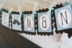 """Black and blue baby boy shower ideas   Blue and Black Mustache or Bowtie Baby Shower Birthday """"Little Man"""" or ..."""