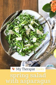 This raw bok choy salad with asparagus and peas is one of the most delicious easy and healthy salad recipes! A no-dressing dressing with lemon juice and olive oil + some fresh parmesan rounds out this gluten free side or main dish. Round this spring salad out with some favorite grilled chicken, your favorite pasta, orzo, egg, shortcut focaccia, or serve this as a cold vegetable side dish! Healthy Weeknight Dinners, Healthy Meals For Two, Asparagus Salad, Asparagus Recipe, Easy Salads, Healthy Salad Recipes, Salad Dishes, Spring Salad, Gluten Free Recipes For Dinner