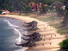 """""""Royal Marines landing on the beaches of Freetown, during the British intervention of the Sierra Leona civil war. Military Helicopter, Military Aircraft, Aigle Animal, Royal Australian Navy, Military Drawings, British Armed Forces, Naval, Royal Marines, Military Pictures"""