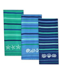 Love this Blue Sea Embroidered Dish Towel Set on #zulily! #zulilyfinds