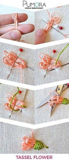 Blumen Sticken: Quasten Blume Tutorial Flower Embroidery: Tassels Flower Tutorial The post Flower Embroidery: Tassels Flower Tutorial appeared first on Embroidery and Stitching. Embroidery Designs, Embroidery Stitches Tutorial, Embroidery Techniques, Knitting Stitches, Embroidery Supplies, Flower Embroidery Stitches, Custom Embroidery, Silk Ribbon Embroidery, Crewel Embroidery