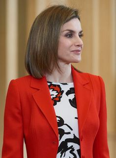 Queen Letizia of Spain attends an audience to a performance of the Board and the Scientific Committee of the Spanish Nutrition Foundation (FEN) at Palacio de la Zarzuela on January 26, 2016 in Madrid, Spain.