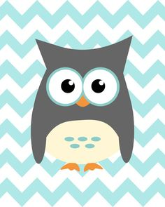 Owl and ABC nursery art - set of three - blue gray orange - digital print - 8x10 on A4