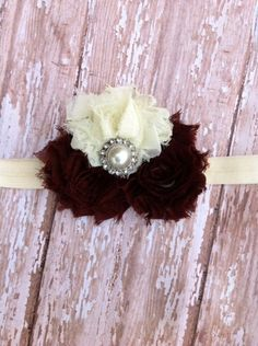Bows for Hair- Cafe Couture Shabby Flower Headband with Pearl Center | sassysweetbaby - Accessories on ArtFire