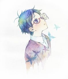 Anime boy with blue hair and glasses. He likes butterflies apparently