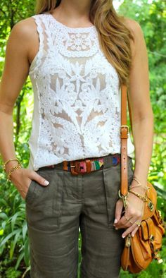 Sleeveless floral lace white top