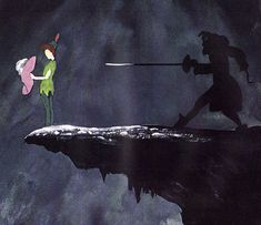 Captain Hook menaces Peter Pan in a Mary Blair concept drawing
