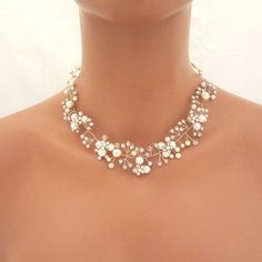 Freshwater pearl necklace, Bridal necklace, Bridal earrings, Wedding jewelry set, Necklace and earrings set, Swarovski crystal