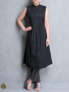 Buy Black Pleated Sleeveless Cotton Kurta by Jaypore Apparel Tunics & Kurtas Earth Song Contemporary Jackets Dresses More Online at Jaypore.com