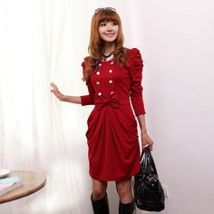 Fashion Solid Color Ruffles Design and Long Sleeves Dress For Women, RED, M in Long Sleeve Dresses   DressLily.com