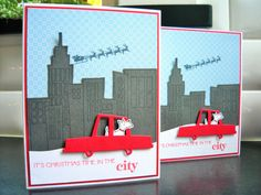Christmas in the City Card Set of 2 Westie by apaperaffaire