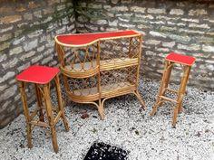 Bar en rotin Vintage