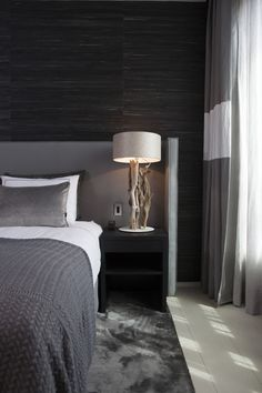 Byron & Jones Interiors - Headboard - Carpet - Lighting - Nightstand - Grey - Wallpaper