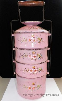 50% off Saturday, January 12, 2013 - Ruby Lane - Vintage Antique 1920s Pink Pastel Enamel 4 Tier Tiffin Lunch Food Carrier RARE