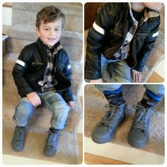 toddler style, little man style, kids style, outfit ideas for kids, leather, plaid, winter style