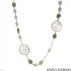 $1,029.00  ENZO LIVERINO Made in Italy Exquisite Brand New Necklace With 270.00ctw Precious Stones - Genuine Fluorites, Mother of pearls and Quartz  18K Yellow Gold. Total item weight 94.1g  Length 34in - Certificate Available.