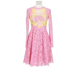 Valentino Pink And Yellow Lace And Tulle Long Sleeves Dress ($5,025) ❤ liked on Polyvore